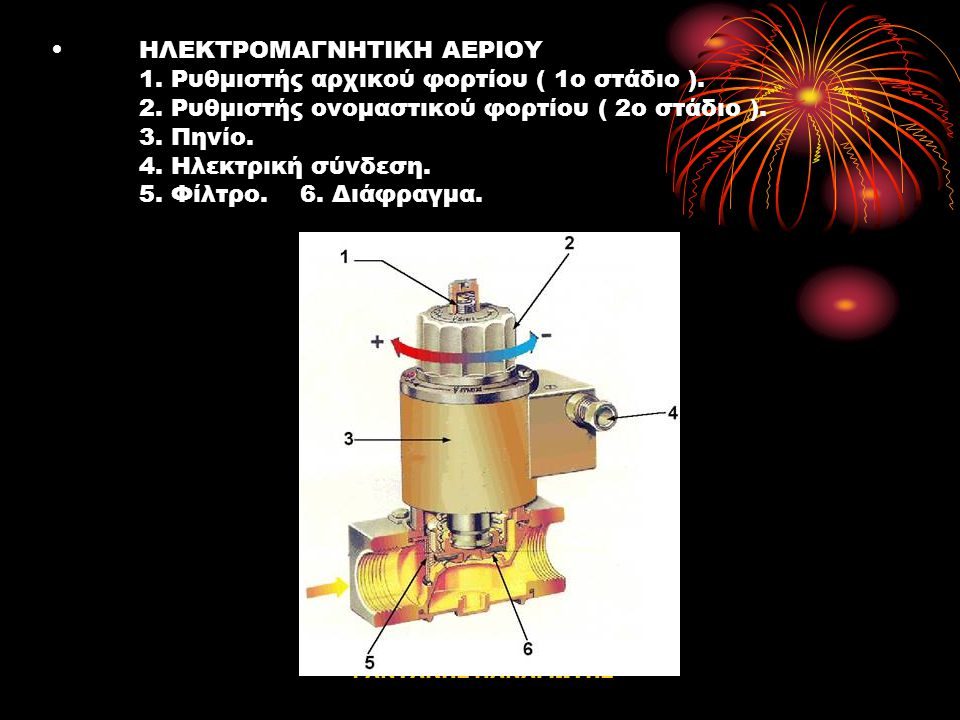 ΦΑΝΤΑΚΗΣ ΠΑΝΑΓΙΩΤΗΣ Ηλεκτρομαγνητική βαλβίδα αερίου. H ηλεκτρομαγνητική βαλβίδα αερίου, τοποθετείται ακριβώς πριν το καυστήρα. Η αποστολή της είναι: •