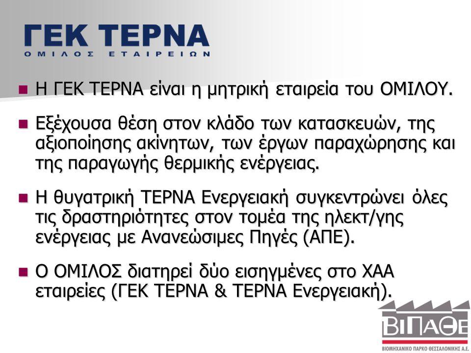 Η ΓΕΚ ΤΕΡΝΑ είναι η μητρική εταιρεία του ΟΜΙΛΟΥ.