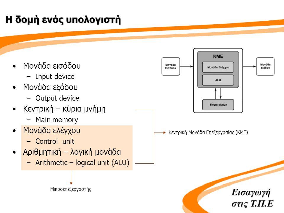 Μικροεπεξεργαστής Η δομή ενός υπολογιστή •Μονάδα εισόδου –Input device •Μονάδα εξόδου –Output device •Κεντρική – κύρια μνήμη –Main memory •Μονάδα ελέγχου –Control unit •Αριθμητική – λογική μονάδα –Arithmetic – logical unit (ALU) Κεντρική Μονάδα Επεξεργασίας (ΚΜΕ)