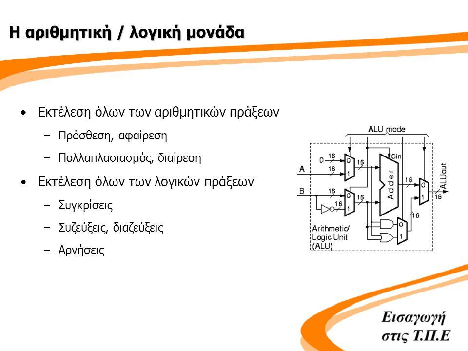 Η μονάδα ελέγχου •Ελέγχει όλες τις διαδικασίες λειτουργίας του υπολογιστή –Αποκωδικοποιεί τις εντολές –Προετοιμάζει τα ηλεκτρονικά κυκλώματα της ALU –Παράγει σήματα ελέγχου τα οποία στέλνονται προς όλες τις άλλες μονάδες του συστήματος •Συντονισμός της εκτέλεσης πράξεων/εντολών