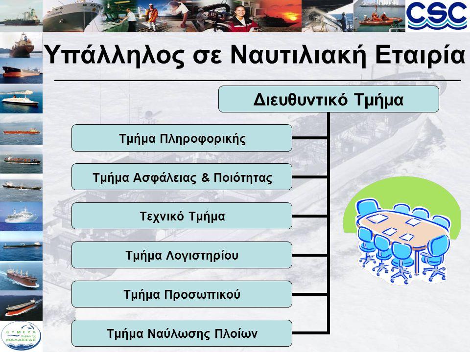 Υπάλληλος σε Ναυτιλιακή Εταιρεία Διευθυντικό Τμήμα Όλες οι διεργασίες και πολιτικές που πρέπει να ακολουθήσουν τα διάφορα τμήματα της ναυτιλιακής εταιρίας συντονίζονται, κατευθύνονται, προγραμματίζονται και ελέγχονται από το διευθυντικό τμήμα της εταιρείας