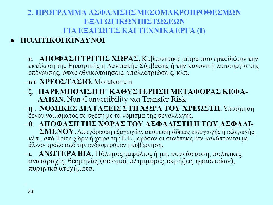 32 2. ΠΡΟΓΡΑΜΜΑ ΑΣΦΑΛΙΣΗΣ ΜΕΣΟΜΑΚΡΟΠΡΟΘΕΣΜΩΝ ΕΞΑΓΩΓΙΚΩΝ ΠΙΣΤΩΣΕΩΝ ΓΙΑ ΕΞΑΓΩΓΕΣ ΚΑΙ ΤΕΧΝΙΚΑ ΕΡΓΑ (Ι) l ΠΟΛΙΤΙΚΟΙ ΚΙΝΔΥΝΟΙ –ε. ΑΠΟΦΑΣΗ ΤΡΙΤΗΣ ΧΩΡΑΣ. Κυβ