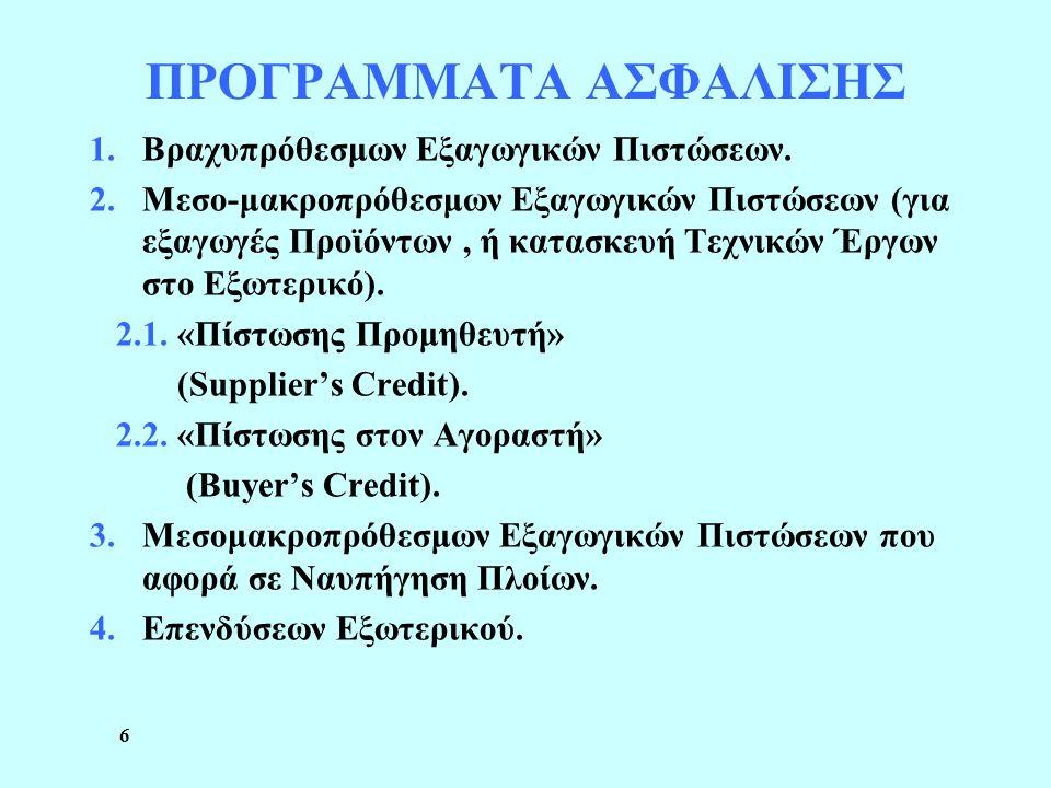 6 ΠΡΟΓΡΑΜΜΑΤΑ ΑΣΦΑΛΙΣΗΣ 1.Βραχυπρόθεσμων Εξαγωγικών Πιστώσεων. 2.Μεσο-μακροπρόθεσμων Εξαγωγικών Πιστώσεων (για εξαγωγές Προϊόντων, ή κατασκευή Τεχνικώ