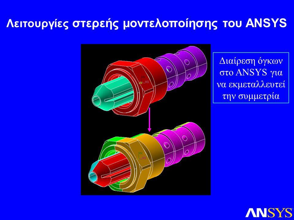 Διαίρεση όγκων στο ANSYS για να εκμεταλλευτεί την συμμετρία Λειτουργίες στερεής μοντελοποίησης του ANSYS