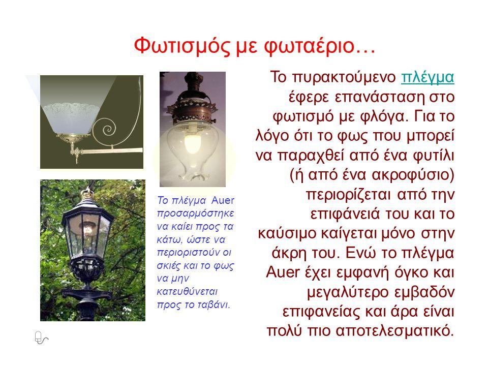 Φωτισμός με φωταέριο… Το πυρακτούμενο πλέγμα έφερε επανάσταση στο φωτισμό με φλόγα. Για το λόγο ότι το φως που μπορεί να παραχθεί από ένα φυτίλι (ή απ