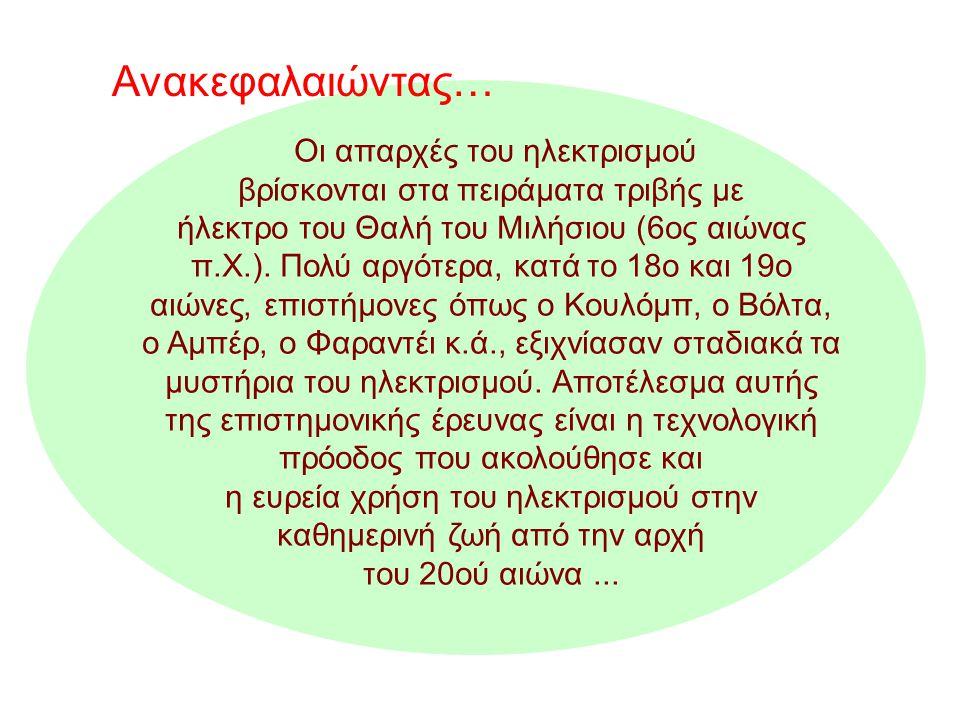 Οι απαρχές του ηλεκτρισμού βρίσκονται στα πειράματα τριβής με ήλεκτρο του Θαλή του Μιλήσιου (6ος αιώνας π.Χ.).