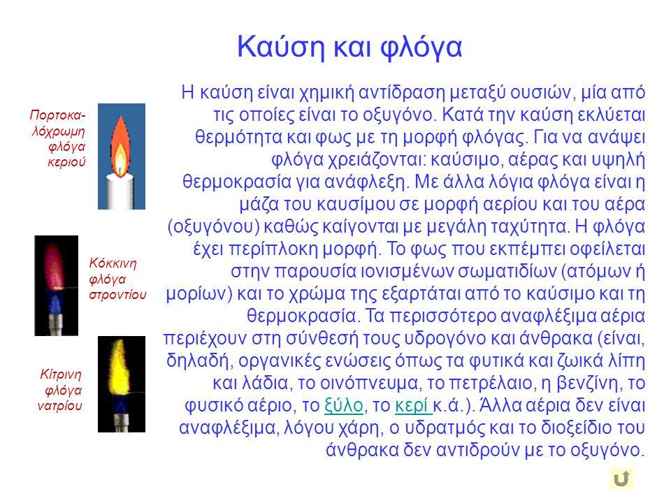 Καύση και φλόγα Η καύση είναι χημική αντίδραση μεταξύ ουσιών, μία από τις οποίες είναι το οξυγόνο.