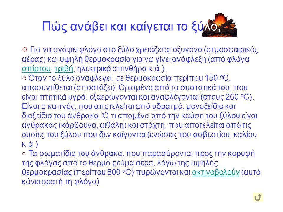 ○ Για να ανάψει φλόγα στο ξύλο χρειάζεται οξυγόνο (ατμοσφαιρικός αέρας) και υψηλή θερμοκρασία για να γίνει ανάφλεξη (από φλόγα σπίρτου, τριβή, ηλεκτρι