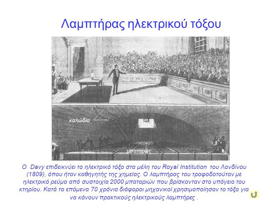 Ο Davy επιδεικνύει το ηλεκτρικό τόξο στα μέλη του Royal Institution του Λονδίνου (1809), όπου ήταν καθηγητής της χημείας. Ο λαμπτήρας του τροφοδοτούτα