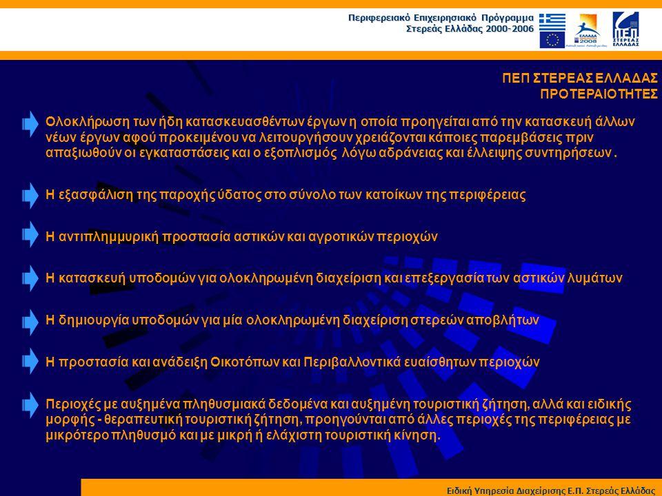 Περιφερειακό Επιχειρησιακό Πρόγραμμα Στερεάς Ελλάδας 2000-2006 Ειδική Υπηρεσία Διαχείρισης Ε.Π. Στερεάς Ελλάδας ΠΕΠ ΣΤΕΡΕΑΣ ΕΛΛΑΔΑΣ ΠΡΟΤΕΡΑΙΟΤΗΤΕΣ Ολο