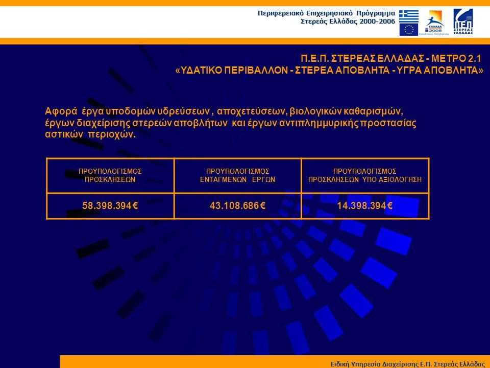 Περιφερειακό Επιχειρησιακό Πρόγραμμα Στερεάς Ελλάδας 2000-2006 Ειδική Υπηρεσία Διαχείρισης Ε.Π. Στερεάς Ελλάδας Π.Ε.Π. ΣΤΕΡΕΑΣ ΕΛΛΑΔΑΣ - ΜΕΤΡΟ 2.1 «ΥΔ