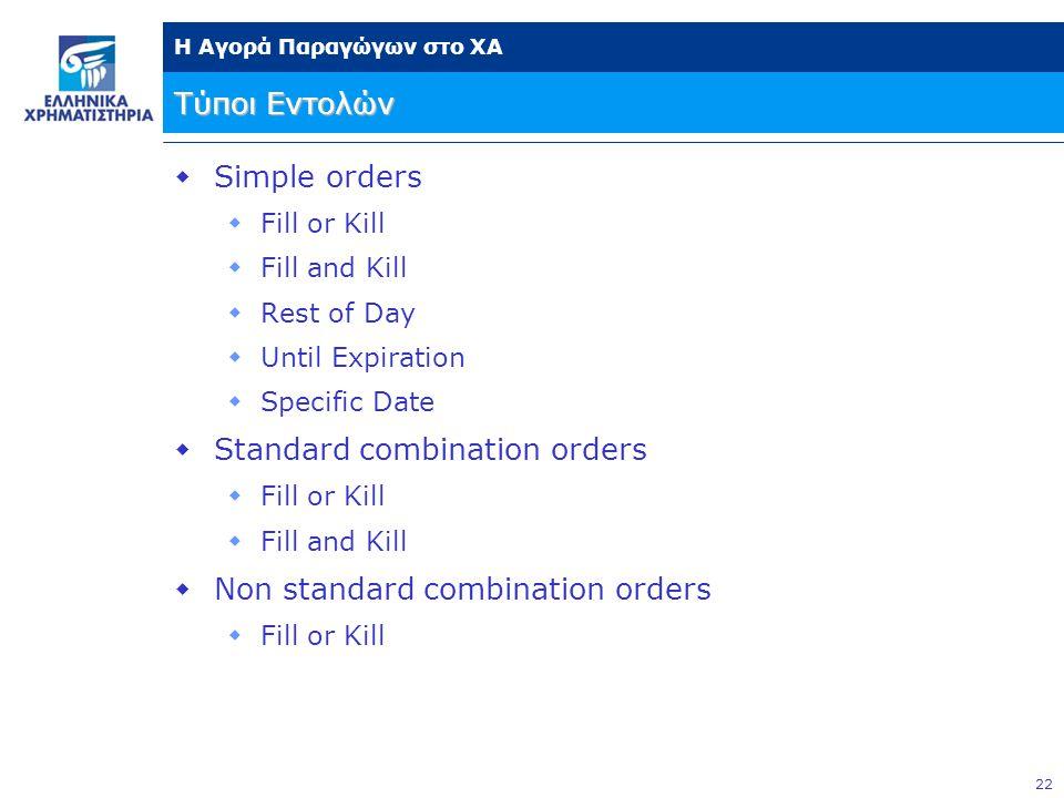 22 Η Αγορά Παραγώγων στο ΧΑ Τύποι Εντολών  Simple orders  Fill or Kill  Fill and Kill  Rest of Day  Until Expiration  Specific Date  Standard c