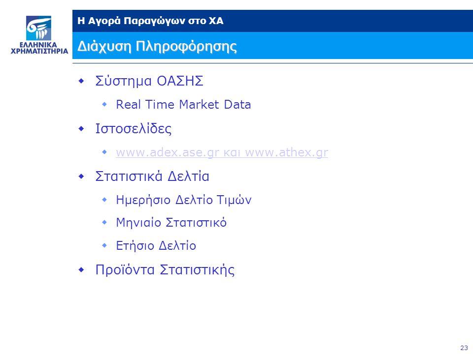 23 Η Αγορά Παραγώγων στο ΧΑ Διάχυση Πληροφόρησης  Σύστημα ΟΑΣΗΣ  Real Time Market Data  Ιστοσελίδες  www.adex.ase.gr και www.athex.gr www.adex.ase.gr και www.athex.gr  Στατιστικά Δελτία  Ημερήσιο Δελτίο Τιμών  Μηνιαίο Στατιστικό  Ετήσιο Δελτίο  Προϊόντα Στατιστικής