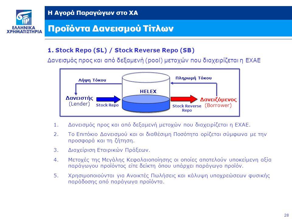 28 Η Αγορά Παραγώγων στο ΧΑ Προϊόντα Δανεισμού Τίτλων 1. Stock Repo (SL) / Stock Reverse Repo (SB) Δανεισμός προς και από δεξαμενή (pool) μετοχών που