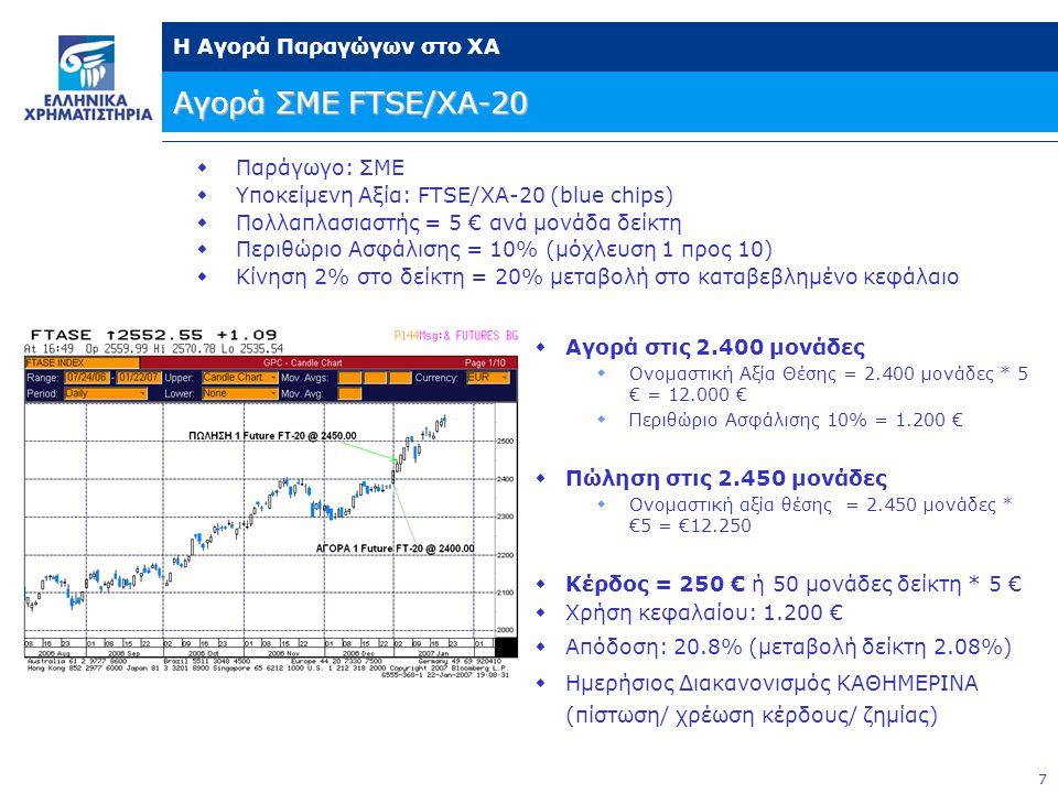 7 Η Αγορά Παραγώγων στο ΧΑ Αγορά ΣΜΕ FTSE/XA-20  Παράγωγο: ΣΜΕ  Υποκείμενη Αξία: FTSE/ΧΑ-20 (blue chips)  Πολλαπλασιαστής = 5 € ανά μονάδα δείκτη  Περιθώριο Ασφάλισης = 10% (μόχλευση 1 προς 10)  Κίνηση 2% στο δείκτη = 20% μεταβολή στο καταβεβλημένο κεφάλαιο  Αγορά στις 2.400 μονάδες  Ονομαστική Αξία Θέσης = 2.400 μονάδες * 5 € = 12.000 €  Περιθώριο Ασφάλισης 10% = 1.200 €  Πώληση στις 2.450 μονάδες  Ονομαστική αξία θέσης = 2.450 μονάδες * €5 = €12.250  Κέρδος = 250 € ή 50 μονάδες δείκτη * 5 €  Χρήση κεφαλαίου: 1.200 €  Απόδοση: 20.8% (μεταβολή δείκτη 2.08%)  Ημερήσιος Διακανονισμός ΚΑΘΗΜΕΡΙΝΑ (πίστωση/ χρέωση κέρδους/ ζημίας)