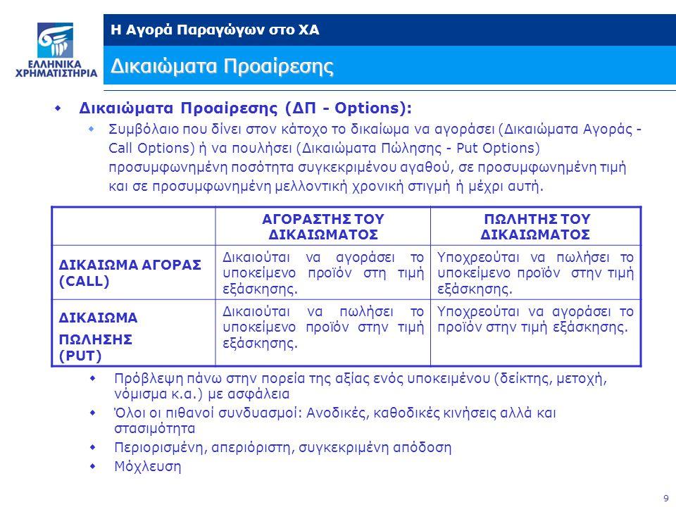 9 Η Αγορά Παραγώγων στο ΧΑ  Δικαιώματα Προαίρεσης (ΔΠ - Options):  Συμβόλαιο που δίνει στον κάτοχο το δικαίωμα να αγοράσει (Δικαιώματα Αγοράς - Call Options) ή να πουλήσει (Δικαιώματα Πώλησης - Put Options) προσυμφωνημένη ποσότητα συγκεκριμένου αγαθού, σε προσυμφωνημένη τιμή και σε προσυμφωνημένη μελλοντική χρονική στιγμή ή μέχρι αυτή.