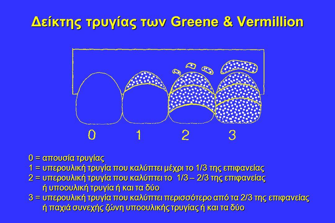 Δείκτης τρυγίας των Greene & Vermillion 0 = απουσία τρυγίας 1 = υπερουλική τρυγία που καλύπτει μέχρι το 1/3 της επιφανείας 2 = υπερουλική τρυγία που καλύπτει το 1/3 – 2/3 της επιφανείας ή υποουλική τρυγία ή και τα δύο ή υποουλική τρυγία ή και τα δύο 3 = υπερουλική τρυγία που καλύπτει περισσότερο από τα 2/3 της επιφανείας ή παχιά συνεχής ζώνη υποουλικής τρυγίας ή και τα δύο ή παχιά συνεχής ζώνη υποουλικής τρυγίας ή και τα δύο
