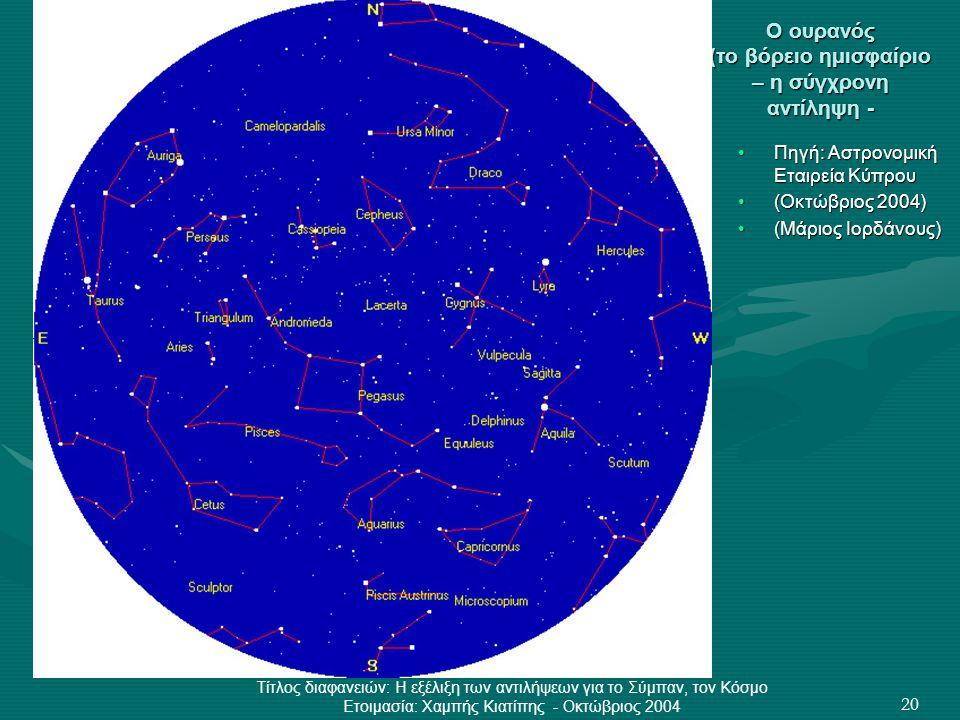 Τίτλος διαφανειών: Η εξέλιξη των αντιλήψεων για το Σύμπαν, τον Κόσμο Ετοιμασία: Χαμπής Κιατίπης - Οκτώβριος 2004 20 Ο ουρανός (το βόρειο ημισφαίριο –