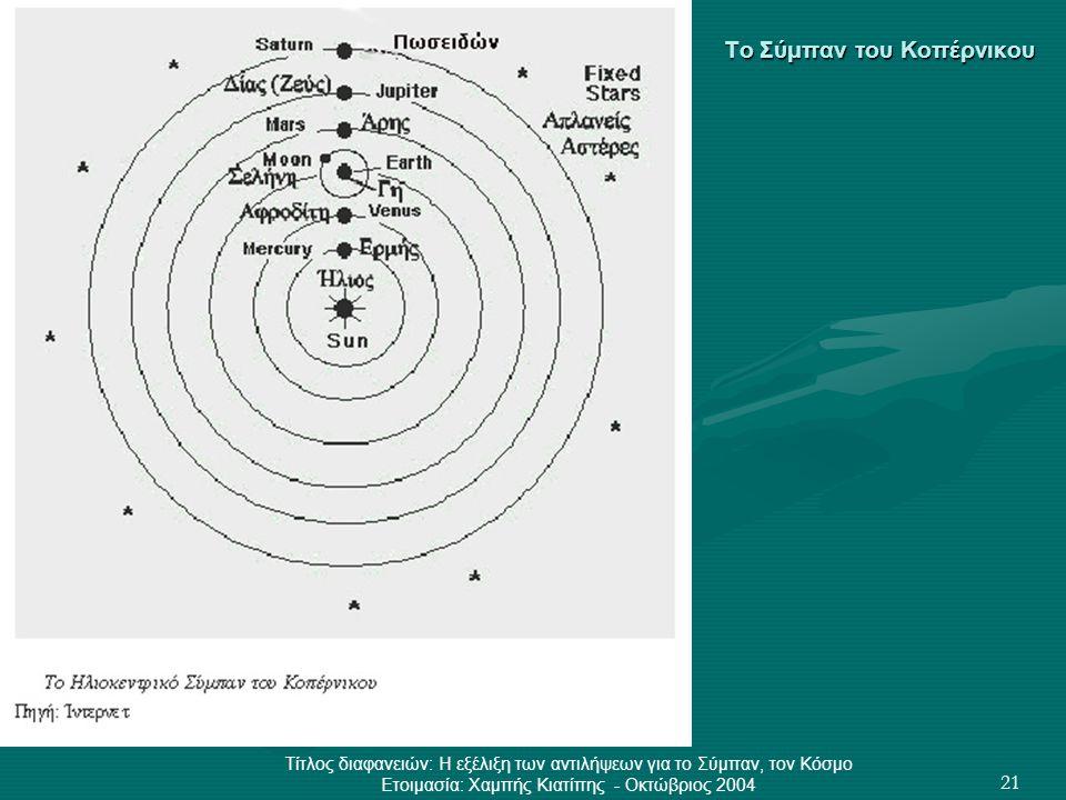 Τίτλος διαφανειών: Η εξέλιξη των αντιλήψεων για το Σύμπαν, τον Κόσμο Ετοιμασία: Χαμπής Κιατίπης - Οκτώβριος 2004 21 Το Σύμπαν του Κοπέρνικου