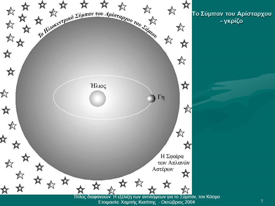 Τίτλος διαφανειών: Η εξέλιξη των αντιλήψεων για το Σύμπαν, τον Κόσμο Ετοιμασία: Χαμπής Κιατίπης - Οκτώβριος 2004 28 Μύθοι για τη Δημιουργία του Κόσμου •Η Τροφή της Ζωής – Μυθολογία Σουμερίων •Τα πρώτα πράγματα – Μυθολογία Αιγυπτίων •«Θεογονία» του Ησίοδου – Μυθολογία Ελλήνων •Ο μύθος της Γένεσης – Μυθολογία Εβραίων •Το Αβγό του Κόσμου – Μυθολογία Κινέζων •Ένας γήινος παράδεισος – Μυθολογία Περσών •Ο Ονειρόχρονος – Μυθολογία Αβοριγίνων •Ο πλωτός Κόσμος – Μυθολογία Ιαπώνων (Αϊνού) •Ιζαναμι και Ιζαναγκι – Μυθολογία Ιαπώνων •Ο Γέροντας των Αρχαίων – Μυθολογία Ινδιάνων Μόντοκ •Παιδιά του Θεού Ήλιου – Μυθολογία Ινδιάνων Νάβαχο •Φτιαγμένοι από λάσπη – Μυθολογία Σιβηριανών •Ο Ιδρώτας του μετώπου του – Μυθολογία Σέρβων (βλέπε προηγούμενη διαφάνεια) •Μέσα από τον πάγο – Μυθολογία Σκανδιναβών