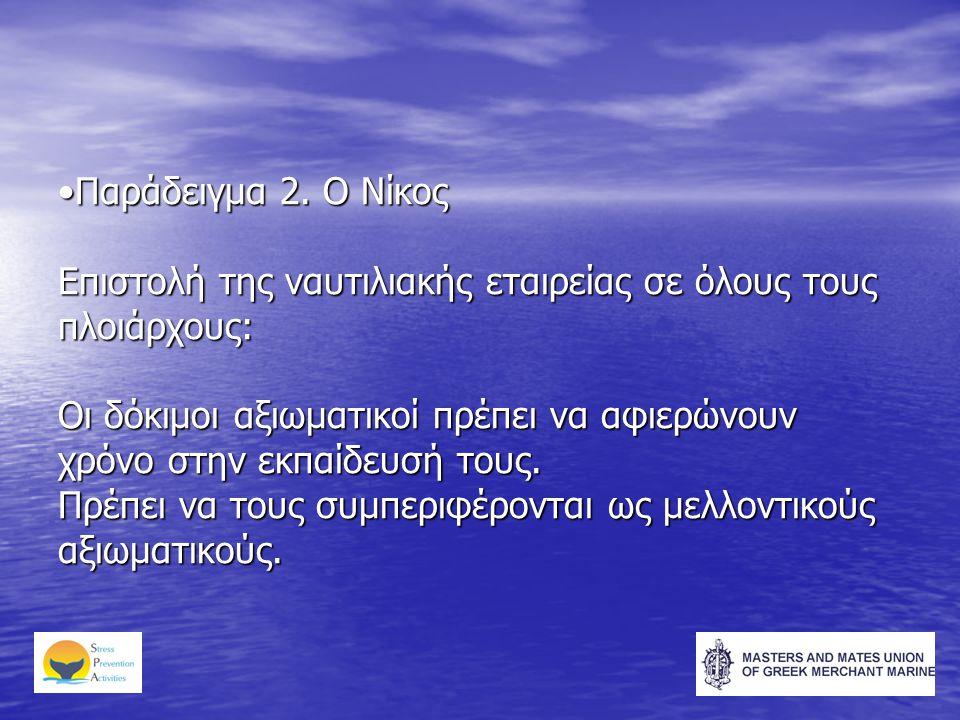 •Παράδειγμα 2. Ο Νίκος Επιστολή της ναυτιλιακής εταιρείας σε όλους τους πλοιάρχους: Οι δόκιμοι αξιωματικοί πρέπει να αφιερώνουν χρόνο στην εκπαίδευσή