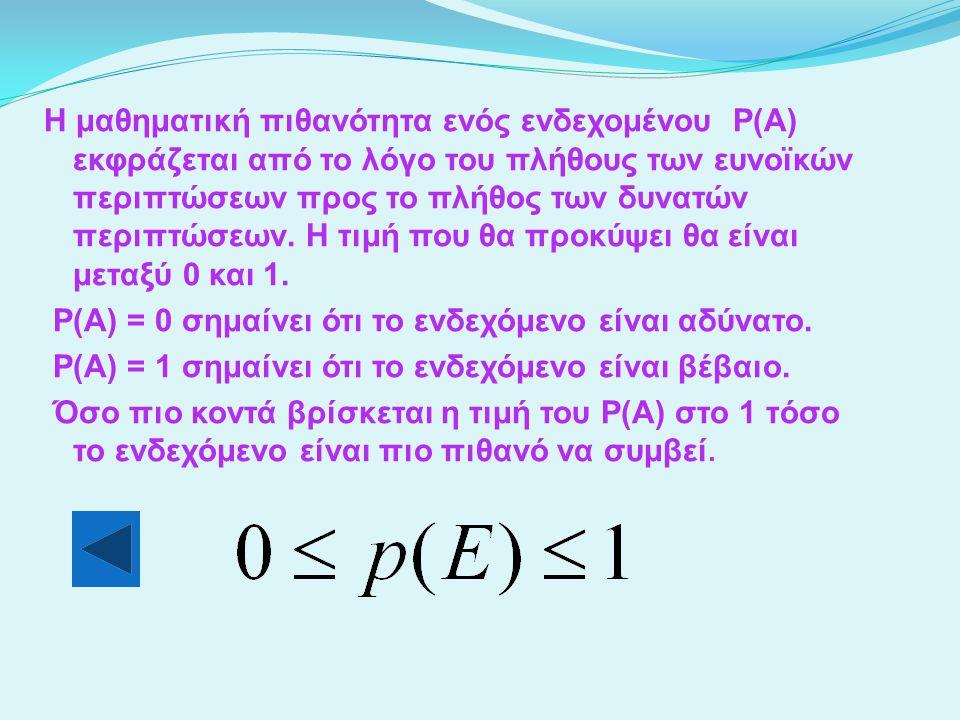 Η μαθηματική πιθανότητα ενός ενδεχομένου P(A) εκφράζεται από το λόγο του πλήθους των ευνοϊκών περιπτώσεων προς το πλήθος των δυνατών περιπτώσεων.