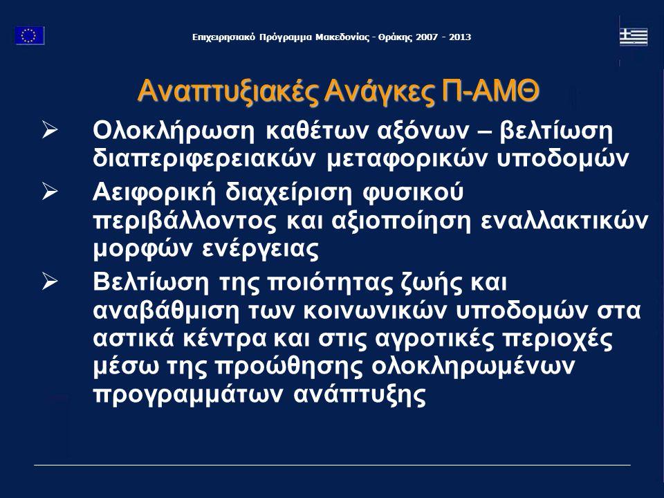 Επιχειρησιακό Πρόγραμμα Μακεδονίας - Θράκης 2007 - 2013 Αναπτυξιακές Ανάγκες Π-ΑΜΘ  Προστασία και ανάδειξη της πολιτιστικής κληρονομιάς και του ανθρωπογενούς περιβάλλοντος  Σύνδεση του τουρισμού με την τοπική κοινωνία και τον τοπικό πολιτισμό  Ενθάρρυνση ανάπτυξης εξωγεωργικών δραστηριοτήτων στον ύπαιθρο χώρο στους τομείς της μεταποίησης και της παροχής υπηρεσιών