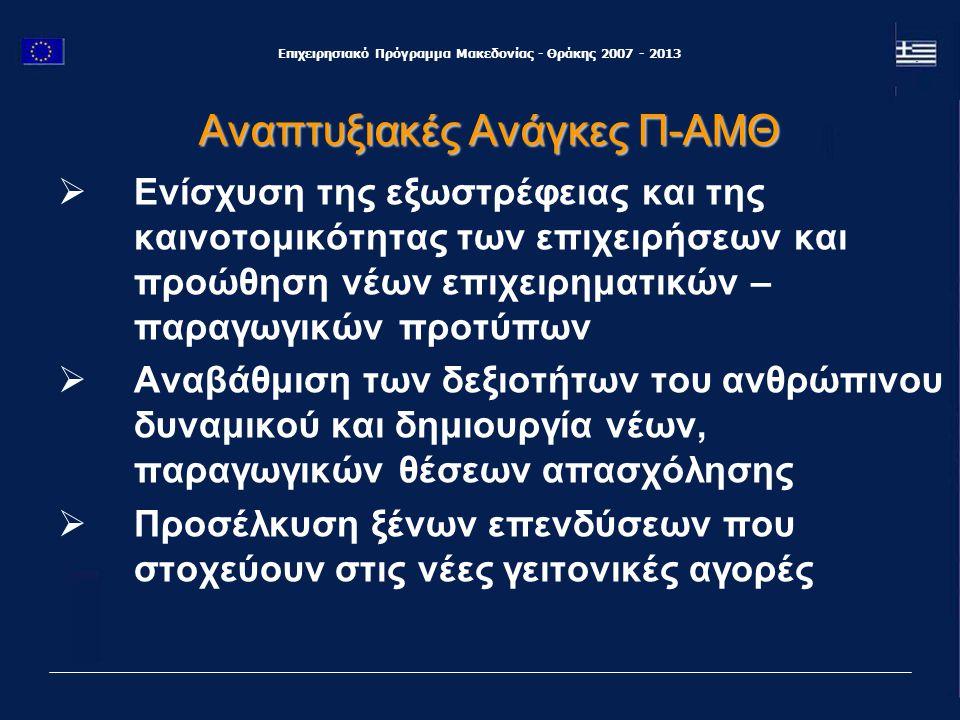Επιχειρησιακό Πρόγραμμα Μακεδονίας - Θράκης 2007 - 2013 Τέλος, στο πλαίσιο του Στόχου 3, θα υλοποιηθούν 12 προγράμματα «Ευρωπαϊκής Εδαφικής Συνεργασίας», με 350 εκ.