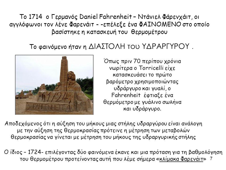 Το 1714 ο Γερμανός Daniel Fahrenheit – Ντάνιελ Φάρενχάιτ, οι αγγλόφωνοι τον λένε Φαρενάιτ - -επέλεξε ένα ΦΑΙΝΟΜΕΝΟ στο οποίο βασίστηκε η κατασκευή του
