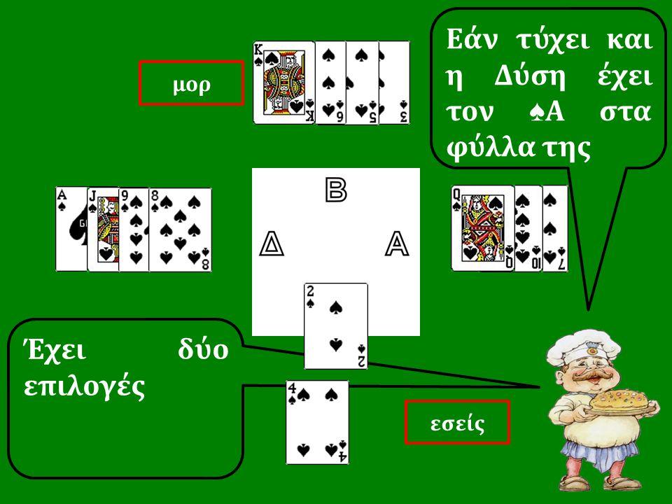 Έχει δύο επιλογές Εάν τύχει και η Δύση έχει τον ♠ Α στα φύλλα της εσείς μορ