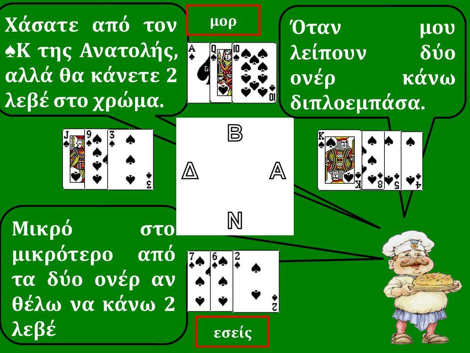 Χάσατε από τον ♠ Κ της Ανατολής, αλλά θα κάνετε 2 λεβέ στο χρώμα. Μικρό στο μικρότερο από τα δύο ονέρ αν θέλω να κάνω 2 λεβέ Όταν μου λείπουν δύο ονέρ