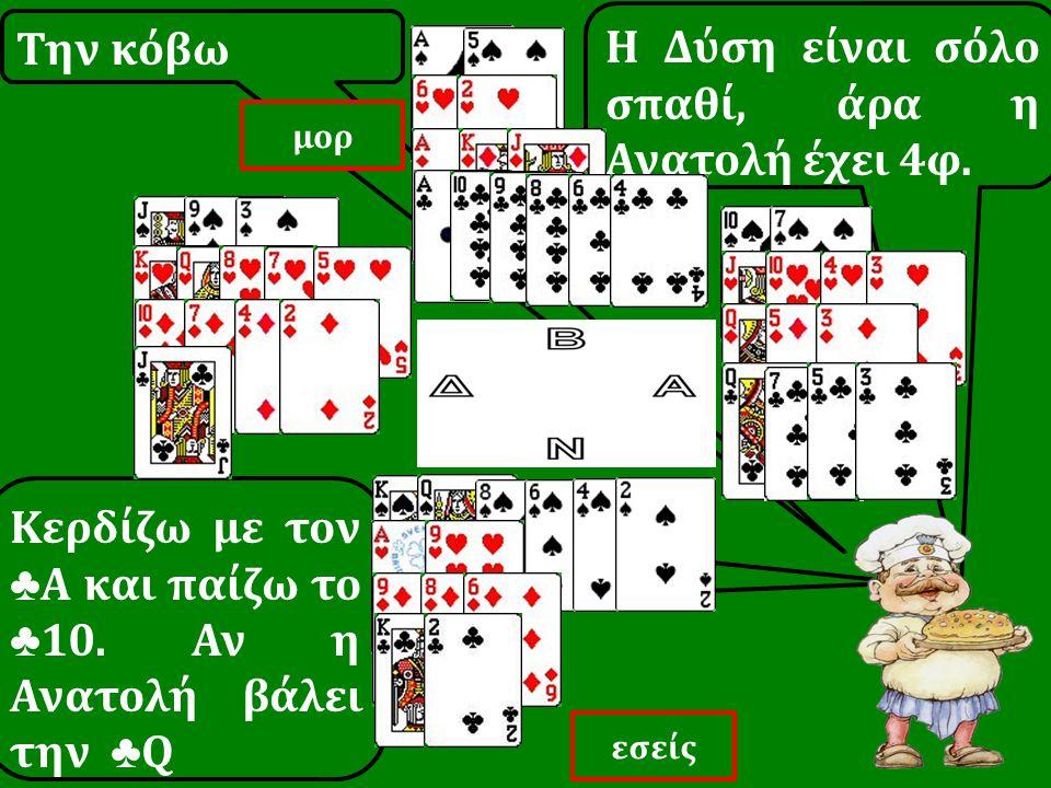 Tην κόβω Κερδίζω με τον ♣ Α και παίζω το ♣ 10. Αν η Ανατολή βάλει την ♣ Q Η Δύση είναι σόλο σπαθί, άρα η Ανατολή έχει 4φ. εσείς μορ