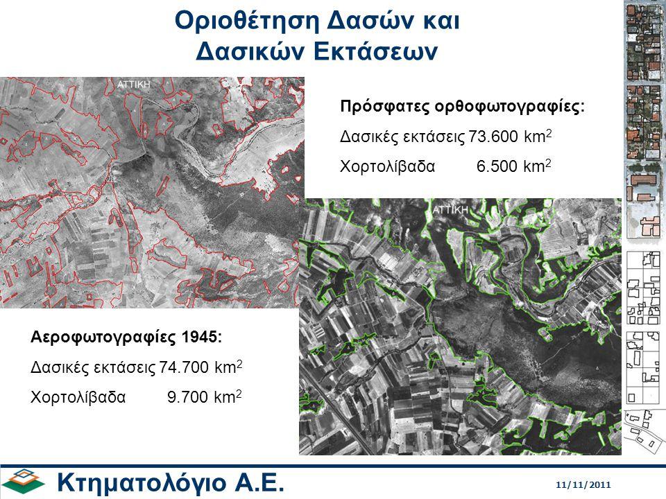 Οριοθέτηση Δασών και Δασικών Εκτάσεων Κτηματολόγιο Α.Ε. Αεροφωτογραφίες 1945: Δασικές εκτάσεις 74.700 km 2 Χορτολίβαδα 9.700 km 2 Πρόσφατες ορθοφωτογρ