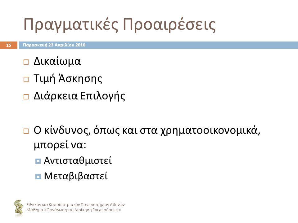 Πραγματικές Προαιρέσεις 15 ΔΔικαίωμα ΤΤιμή Άσκησης ΔΔιάρκεια Επιλογής ΟΟ κίνδυνος, όπως και στα χρηματοοικονομικά, μπορεί να : ΑΑντισταθμιστεί ΜΜεταβιβαστεί Εθνικόν και Καποδιστριακόν Πανεπιστήμιον Αθηνών Μάθημα « Οργάνωση και Διοίκηση Επιχειρήσεων » Παρασκευή 23 Απριλίου 2010