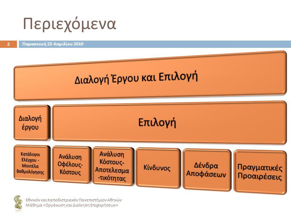 Περιεχόμενα Εθνικόν και Καποδιστριακόν Πανεπιστήμιον Αθηνών Μάθημα « Οργάνωση και Διοίκηση Επιχειρήσεων » 2 Παρασκευή 23 Απριλίου 2010