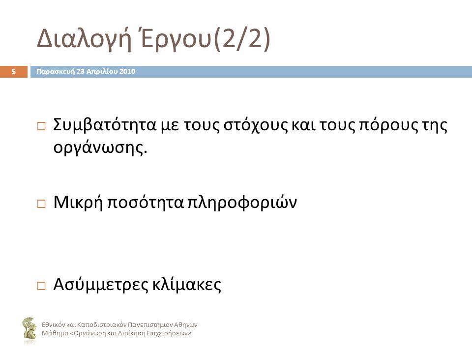 Διαλογή Έργου (2/2) ΣΣυμβατότητα με τους στόχους και τους πόρους της οργάνωσης.