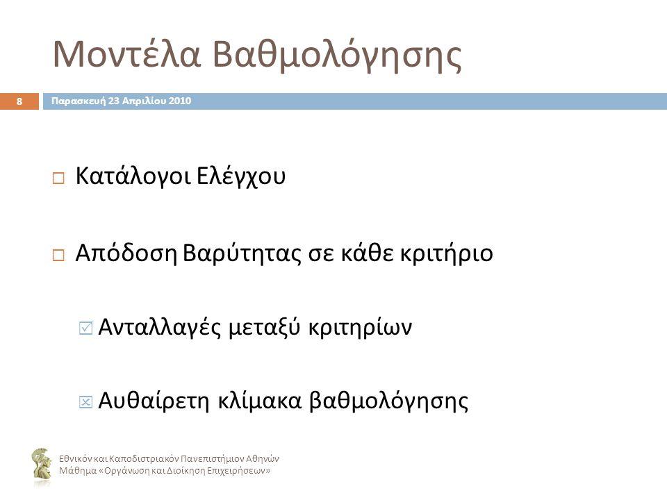 Μοντέλα Βαθμολόγησης ΚΚατάλογοι Ελέγχου ΑΑπόδοση Βαρύτητας σε κάθε κριτήριο ΑΑνταλλαγές μεταξύ κριτηρίων ΑΑυθαίρετη κλίμακα βαθμολόγησης 8 Εθνικόν και Καποδιστριακόν Πανεπιστήμιον Αθηνών Μάθημα « Οργάνωση και Διοίκηση Επιχειρήσεων » Παρασκευή 23 Απριλίου 2010