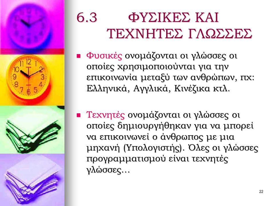 22 6.3 ΦΥΣΙΚΕΣ ΚΑΙ ΤΕΧΝΗΤΕΣ ΓΛΩΣΣΕΣ  Φυσικές ονομάζονται οι γλώσσες οι οποίες χρησιμοποιούνται για την επικοινωνία μεταξύ των ανθρώπων, πχ: Ελληνικά, Αγγλικά, Κινέζικα κτλ.