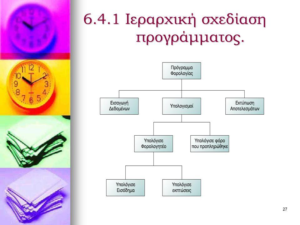 28 Τμηματικός προγραμματισμός   Η ιεραρχική σχεδίαση προγράμματος υλοποιείται με τον τμηματικό προγραμματισμό.