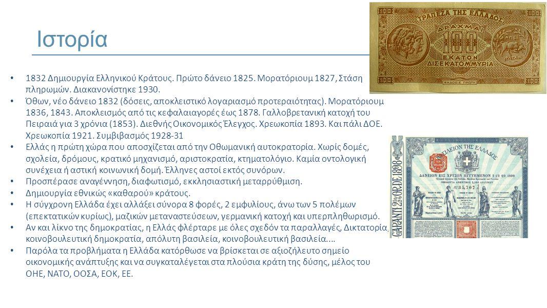 • 1832 Δημιουργία Ελληνικού Κράτους.Πρώτο δάνειο 1825.