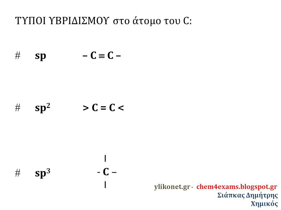 ΤΥΠΟΙ ΥΒΡΙΔΙΣΜΟΥ στο άτομο του C:  sp – C  C –  sp 2 > C = C <  sp 3 I - C – I ylikonet.gr - chem4exams.blogspot.gr Σιάπκας Δημήτρης Χημικός