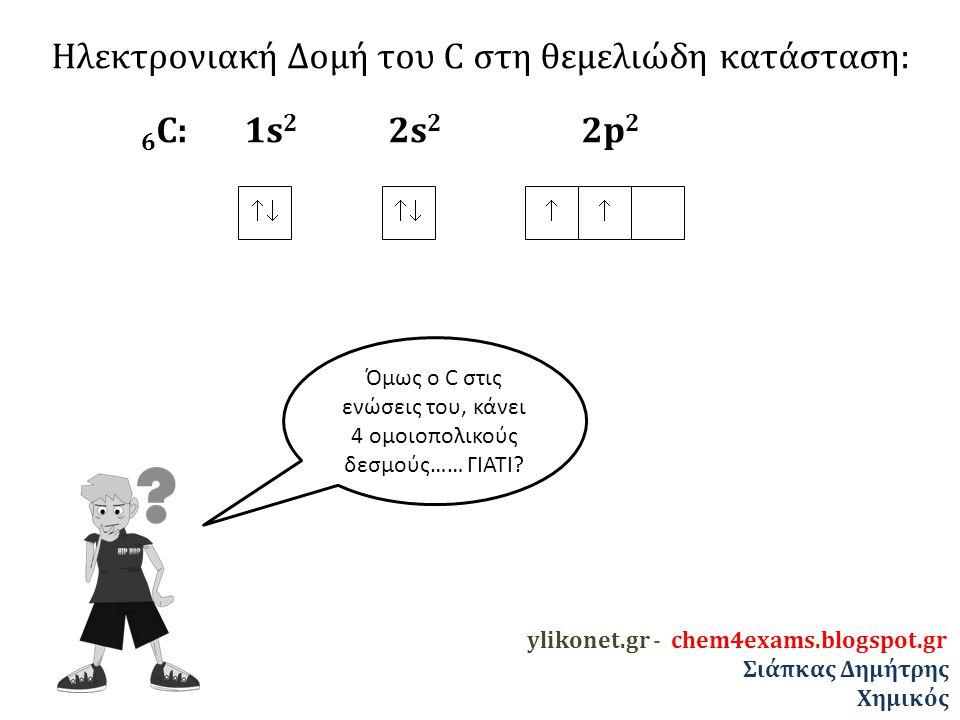 Ηλεκτρονιακή Δομή του C στη θεμελιώδη κατάσταση: 6 C: 1s 2 2s 2 2p 2   Την ιδιαιτερότητα αυτή εξηγεί ο ΥΒΡΙΔΙΣΜΟΣ ylikonet.gr - chem4exams.blogspot.gr Σιάπκας Δημήτρης Χημικός