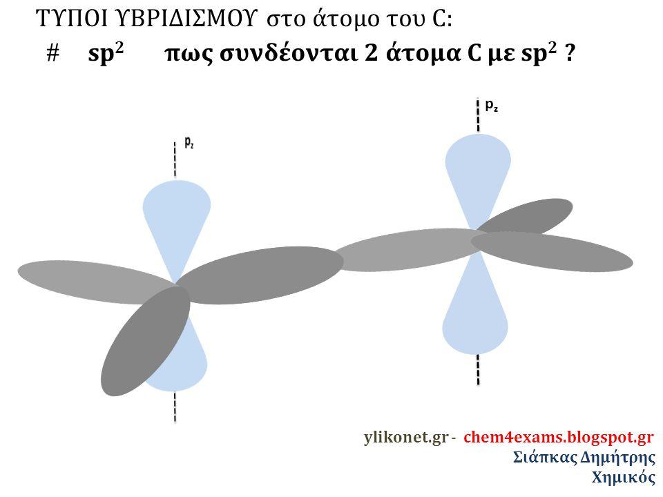 ΤΥΠΟΙ ΥΒΡΙΔΙΣΜΟΥ στο άτομο του C:  sp 2 πως συνδέονται 2 άτομα C με sp 2 .