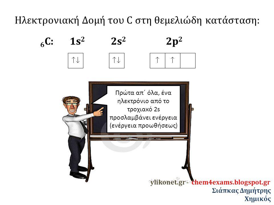 Ηλεκτρονιακή Δομή του C στη θεμελιώδη κατάσταση: 6 C: 1s 2 2s 2 2p 2   οπότε διεγείρεται και προωθείται στο κενό τροχιακό της υποστιβάδας 2p ylikonet.gr - chem4exams.blogspot.gr Σιάπκας Δημήτρης Χημικός