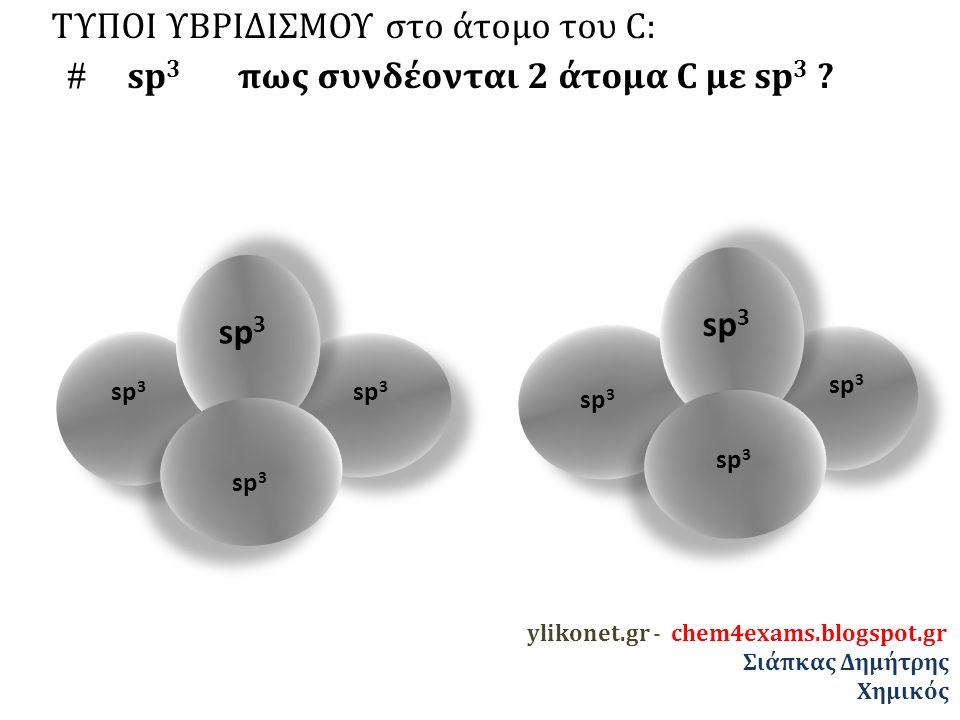 ΤΥΠΟΙ ΥΒΡΙΔΙΣΜΟΥ στο άτομο του C:  sp 3 πως συνδέονται 2 άτομα C με sp 3 .