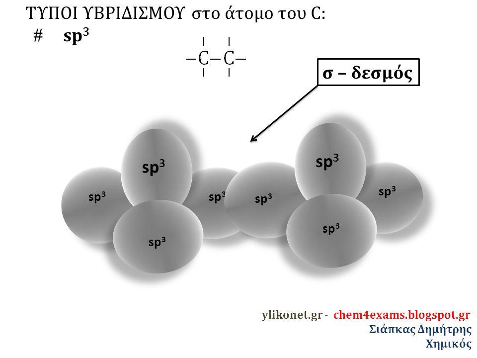 ΤΥΠΟΙ ΥΒΡΙΔΙΣΜΟΥ στο άτομο του C:  sp 3 σ – δεσμός sp 3 ylikonet.gr - chem4exams.blogspot.gr Σιάπκας Δημήτρης Χημικός