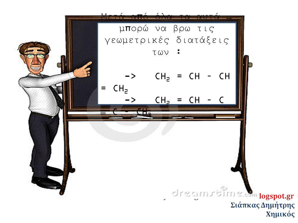 ylikonet.gr - chem4exams.blogspot.gr Σιάπκας Δημήτρης Χημικός Μετά από όλα τα αυτά … μπορώ να βρω τις γεωμετρικές διατάξεις των : -> CH 2 = CH – CH = CH 2 -> CH 2 = CH – C  C – CH 3