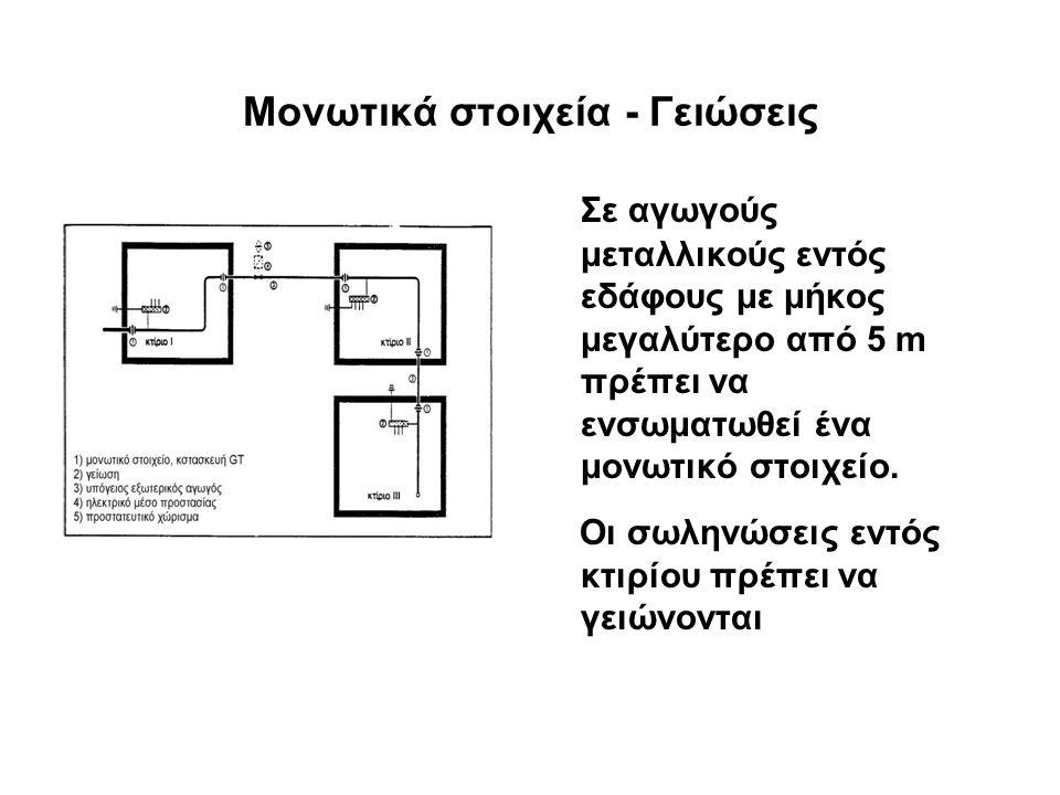 Μονωτικά στοιχεία - Γειώσεις Σε αγωγούς μεταλλικούς εντός εδάφους με μήκος μεγαλύτερο από 5 m πρέπει να ενσωματωθεί ένα μονωτικό στοιχείο.