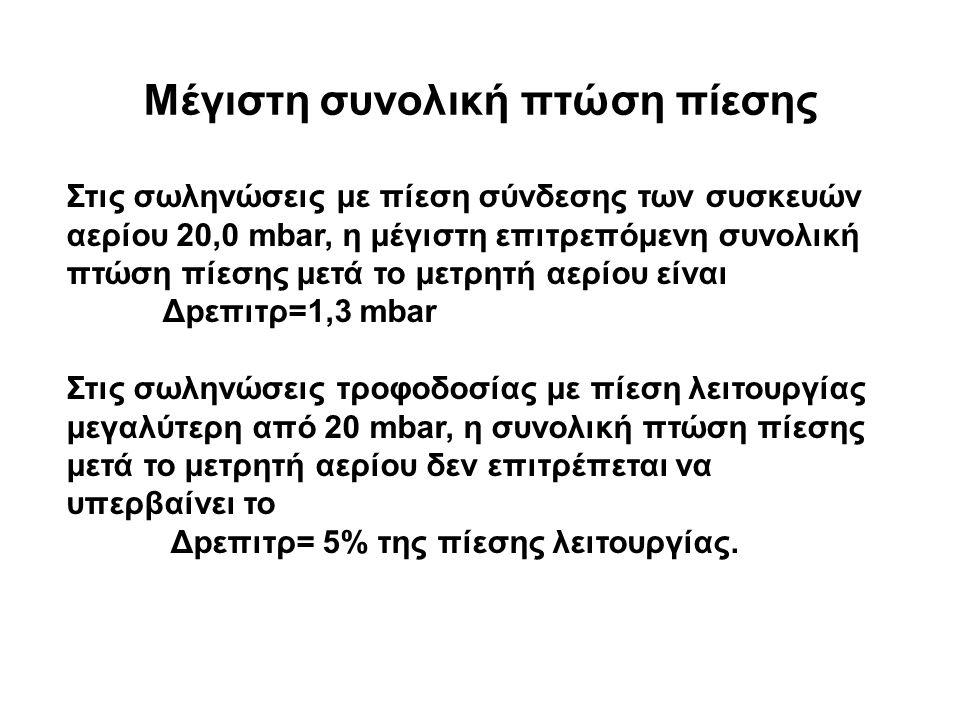 Μέγιστη συνολική πτώση πίεσης Στις σωληνώσεις με πίεση σύνδεσης των συσκευών αερίου 20,0 mbar, η μέγιστη επιτρεπόμενη συνολική πτώση πίεσης μετά το μετρητή αερίου είναι Δpεπιτρ=1,3 mbar Στις σωληνώσεις τροφοδοσίας με πίεση λειτουργίας μεγαλύτερη από 20 mbar, η συνολική πτώση πίεσης μετά το μετρητή αερίου δεν επιτρέπεται να υπερβαίνει το Δpεπιτρ= 5% της πίεσης λειτουργίας.