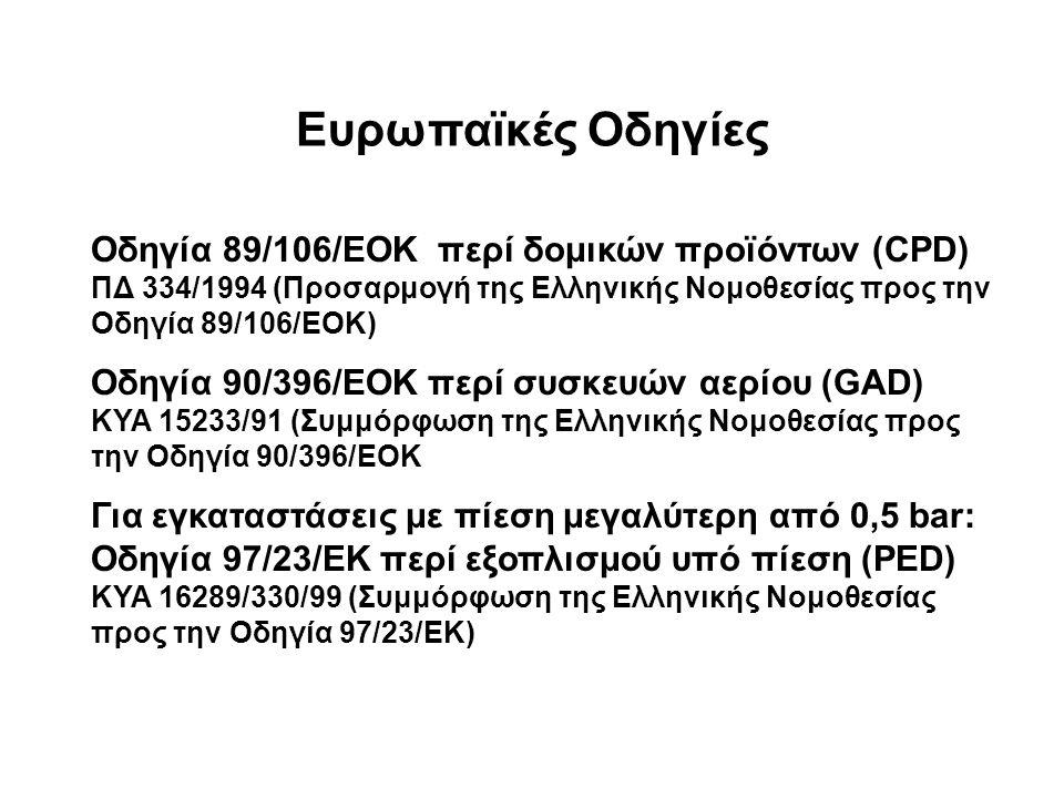 Ευρωπαϊκές Οδηγίες Οδηγία 89/106/ΕΟΚ περί δομικών προϊόντων (CPD) ΠΔ 334/1994 (Προσαρμογή της Ελληνικής Νομοθεσίας προς την Οδηγία 89/106/ΕΟΚ) Οδηγία 90/396/ΕΟΚ περί συσκευών αερίου (GAD) ΚΥΑ 15233/91 (Συμμόρφωση της Ελληνικής Νομοθεσίας προς την Οδηγία 90/396/ΕΟΚ Για εγκαταστάσεις με πίεση μεγαλύτερη από 0,5 bar: Οδηγία 97/23/ΕΚ περί εξοπλισμού υπό πίεση (PED) ΚΥΑ 16289/330/99 (Συμμόρφωση της Ελληνικής Νομοθεσίας προς την Οδηγία 97/23/ΕΚ)